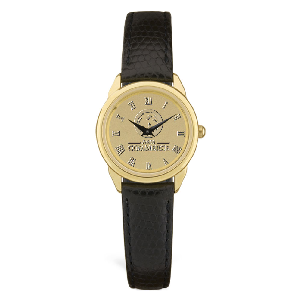 Image For Ladies' Black Leather Watch