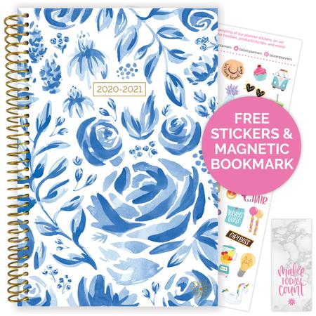 Image For BLOOM PLANNER AY20-21 BLUE AND WHITE FLORAL
